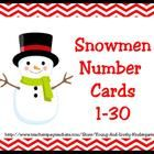 Adorable, Snowmen Number cards include numbers 1-30 and base ten cards for matching numbers to sets....
