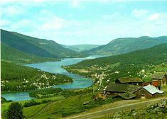 Oppland fylke Øyer kommune Tretten utsikt over Lågen og dalen Utg Normann 1970-tallet