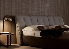 Suede Bed With Tufted Headboard SUMO | Suede Bed   MisuraEmme  Pelzbettwäsche, Kopfteil Designs,