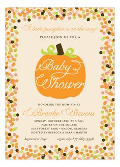 "Fall ""Little Pumpkin"" Baby Shower Invitation by Polka Dot Design. Potluck Invitation, Fall Party Invitations, Pumpkin Invitation, Baby Shower Invitations For Boys, Baby Shower Themes, Shower Ideas, Invitation Wording, Invitation Templates, Baby Shower Fall"