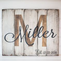 Last name with est. date rustic wooden sign made from reclaimed pallet wood DIY Wood Signs Date est Pallet reclaimed Rustic Sign Wood Wooden Arte Pallet, Pallet Art, Diy Pallet, Pallet Ideas, Pallet Painting, Pallet Designs, Outdoor Pallet, Wood Ideas, Bar Outdoor