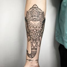 Ornamental style elephant head tattoo on the right forearm.Done by Melow Perez