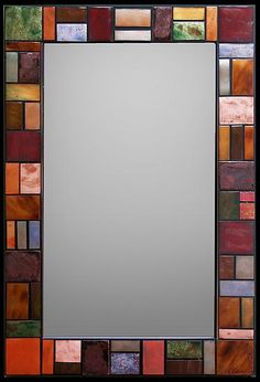 Geometric Metallic Mirror by Kim Eubank (Metal Mirror) Stained Glass Mirror, Mirror Mosaic, Metal Mirror, Mosaic Glass, Glass Art, Craftsman Decor, Glitter Frame, Mirror Makeover, Cool Mirrors