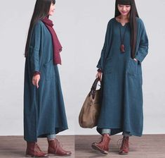 Casual Loose Fitting Long Sleeved Cotton and Linen Long Dress Blouse(LYQ-013)- Women Maxi dress