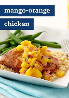 Mango-Orange Chicken -- Chicken gets a spicy island flavor, a lively fruit topping and attitude in this recipe. Add couscous for a memorable dish.