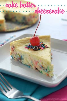 Cake Batter Cheesecake | www.wineandglue.com | Almost as good as licking the beaters!