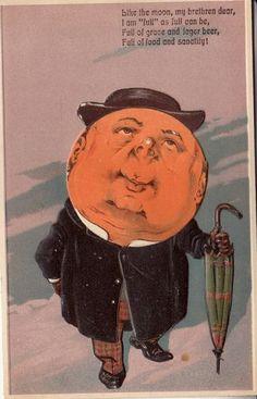 Antique postcard: Moon-faced man with umbrella