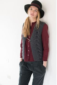 Trifoglio hat, black. Wexford vest, grey. Sonia shirt, prune. Liberty pants, iron.