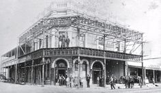 This photo is from Buildings of Toowoomba from National Trust collection. According to information from John Larkin, The Traveller's Home Hotel (built 1872 on the corner of Ruthven and Bell Sts) purchased by James and George Moloney (1898) refurbished and renamed the Globe Hotel. It was demolished in l982 to accommodate what is the now the Heritage Building Society complex.
