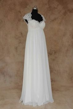 We produce all types of Plus Size Empire Waist Wedding Gowns. This bridal piece has lace cap sleeves and an open neckline. Each plus size wedding gown can be customized to the brides tastes. To see more plus size lace wedding dresses please go to https://www.dariuscordell.com/featured/plus-size-wedding-dresses-bridal-gowns/