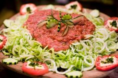 spaghetti - one of many vegan raw food diet recipes used at Culinary Skills Week with FoodnSport