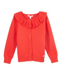 Another great find on #zulily! Red Ruffle Cardigan - Toddler & Girls #zulilyfinds
