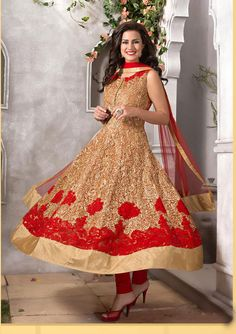 USD 342.05 Beige Net Ankle Length Anarkali Salwar Kameez 43094