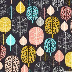 Acorn Forest - Leaves & Trees - Black