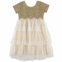 Праздничное платье из двух материалов: белой сетки и ткани с золотым шитьем в верхней части платья. Круглый вырез горловины и короткие рукава. Потайная молния на спинке. - $ 91,00
