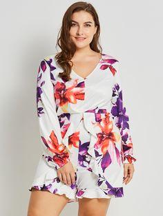 Plusee Jumpsuit Plus Size Women Autumn 2017 Slim White WideLegs Floral  Falbala Patchwork Shorts Plus Size Jumpsuit 1e3f4d1af039