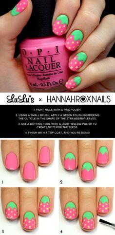 Pink Strawberry Nail Tutorial at LuLus.com! #nails #NailDesigns #NailArt