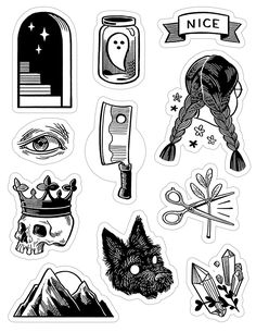 A sheet of 11 b&w kiss-cut stickers inspired by tattoo flash sheets. Each sheet measures with individual stickers around Printed on flexible high-quality vinyl. They're super durable, restickable, and water-proof! - Online Store Powered by Storenvy Tattoo Flash Sheet, Tattoo Flash Art, Flash Tattoos, Printable Stickers, Cute Stickers, Cute Tattoos, Small Tattoos, Awesome Tattoos, Black And White Stickers