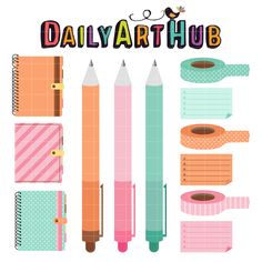 FREE Colorful Planner & pen Clip Art Set, stickers
