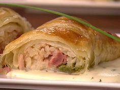 Involtini com recheio de risoto, e uma cobertura de massa folhada deliciosa!