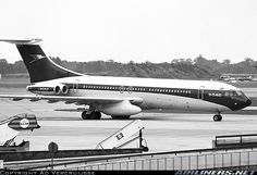 BOAC Vickers VC10 Srs1101 at London Heathrow  - September 1970. Carrying a spare pod under the right engine. A rare sight!
