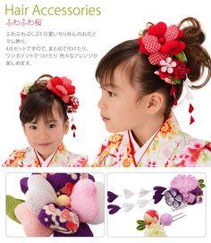 髪飾りふわふわ桜4点セット縮緬和柄つまみ細工