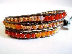 Fire Agate wrap bracelet by KnotsAndWraps