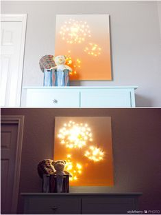 DIY Night Light Canvas- different colors, larger canvas= living room decor? Diy Projects To Try, Crafts To Do, Home Crafts, Diy Crafts, Art Projects, Lighted Canvas, Diy Canvas, Painted Canvas, Canvas Lights