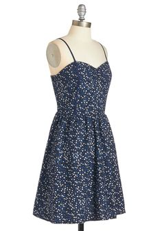 Sunlit Stroll Dress. Spend your lunch break outside in this navy dress, basking in the sun's sweet warmth! #blue #modcloth