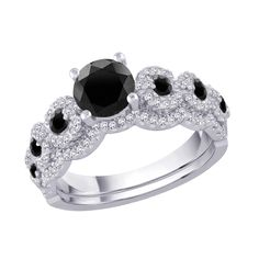 Black and White Diamond Bridal Engagement Ring with Matching Band in 14K White Gold(1 2/3 cttw) -