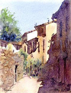 Rue Malmagrade, Soreze Urban Sketching, Mount Rushmore, Buildings, Arch, Watercolor, Mountains, Nature, Travel, Paintings