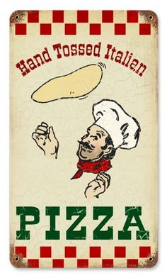 $29.97 Vintage-Retro Hand Tossed Pizza Metal-Tin Sign 8 x 14 Inches