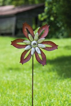 Rustic Metal Windmill Spinner Kinetic Garden Stake