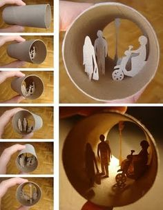 "Artist Anastassia Elias describes the process behind her miniature sculptures: ""I cut the little paper silhouettes I then glue inside the toilet paper roll. I use tweezers to do so. I use the paper the same color as the roller. It gives an illusion that the little people are part of the paper roll."""
