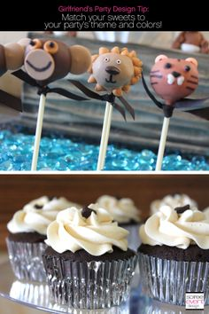 Offer sweets that match your party's theme like these animal cake pops displayed 2 by 2 for this Noah's Ark Baby Shower!  Full party photos:  Soiree-EventDesign.com