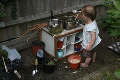 Train Up a Child: Child's Play 101 - Messy Play. the whole post has great stuff about messy play, but my favorite idea right now is the mud kitchen! just wish I had a mud room in my house. Outdoor Play Spaces, Kids Outdoor Play, Backyard Play, Outdoor Fun, Outdoor Ideas, Outdoor Learning, Imagination Tree, Mud Kitchen, Kitchen Ideas
