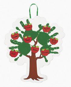 Handprint apple Tree and personalized family tree craft