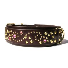 Custom made bedazzled, jeweled leather dog collar. The Stargazer is always one of a kind just like your dog! wide base Buckle area tapered to wide top layer Optional extra D-ring Si Jewel Colors, Studded Belt, Leather Dog Collars, Collar And Leash, Custom Leather, Dog Accessories, Stargazing, Collar Necklace, Bling