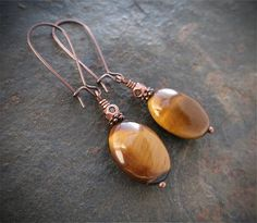 Tiger Eye & Copper Earrings ♥ $18.00
