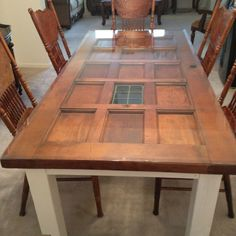 build a table from a door - Google Search & How to Build a Dining Table From an Old Door and Posts | Pinterest ...