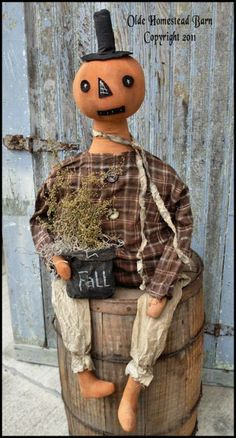 Prim Pumpkin Man Chucky EPATTERN  Great seller when completed  On instant download  $8.75