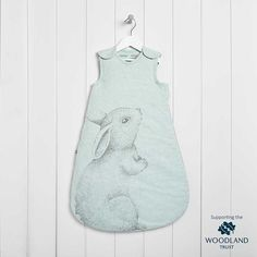 hanging baby sleeping bag with mint colours and rabbit print
