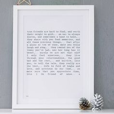 'Friendship' Poem Art Print from notonthehighstreet.com