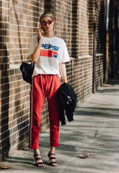 Glue their eyes on you with a vintage statement shirt + bright trackpants ~