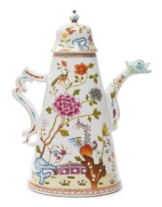 A Chinese Export Porcelain Famille-Rose Conical Coffee-Pot and Cover Qianlong period, Third Quarter 18th century