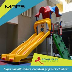 Slides and Rock Climber provide children with a safe burst of speed and are often the center of attraction during play. If you are looking to upgrade your swing set to a whole new level of adventure filled play, Royal Play Equipments is the place to start. #playgroundslides #royalplayequipment #slides #play