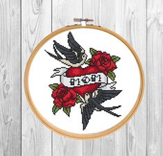 Cross stitch pattern PDF, gift for Mom/ Tattoo needlepoint chart/ swallow and roses xstitch/ oldschool tattoo/ mother modern cross stitch Fabric: 14 count Stitches: 81 x 103 Size: 5.79 x 7.36 inches or 14.70 x 18.69 cm -This listing is for a PDF file of the pattern, not the