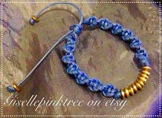Blue gold rope bracelet with adjustable size by Gisellepinktree
