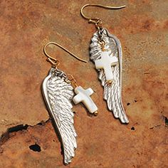Angel Wing and Cross Earring  Shop our sale!  All our angels are on 15% off today! Promo Code: 1DSJ172F  All items in limited quantities!  http://www.femailcreations.com/search?k=angels  #UniqueGifts #GiftsForWomen #Gifts #GiftsForAllOccassion #InspirationalGifts