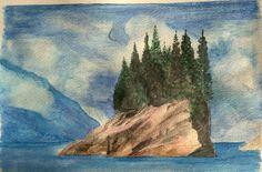 Alaskan fjord. Watercolour